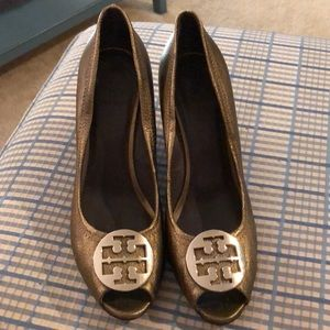 Tory Burch bronze leather wedges